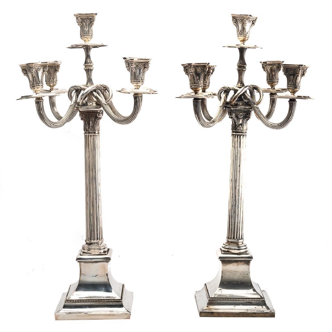 Pair of Posen silver five-light candelabra