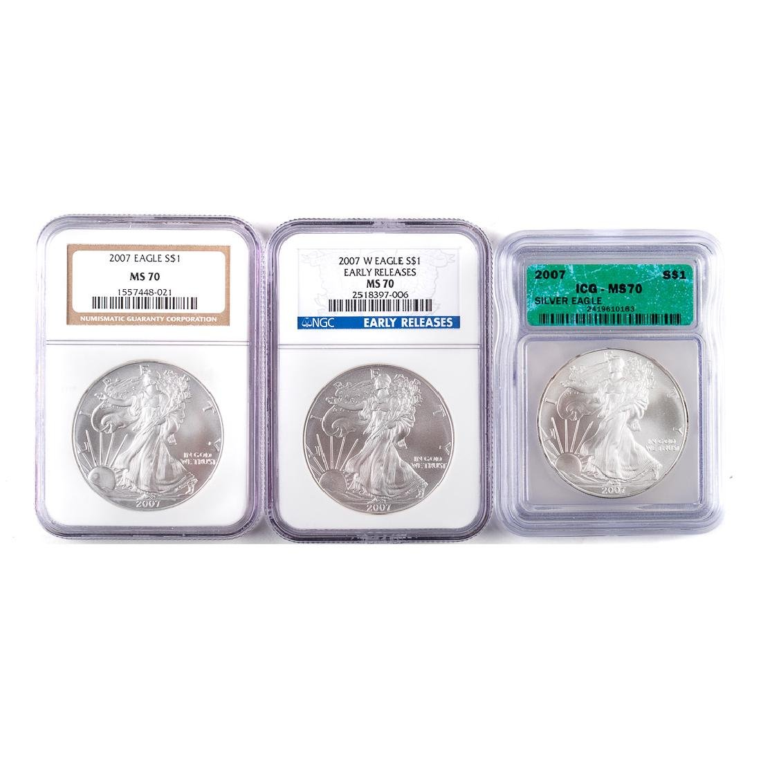 [US] Three MS70 2007 Silver Eagles