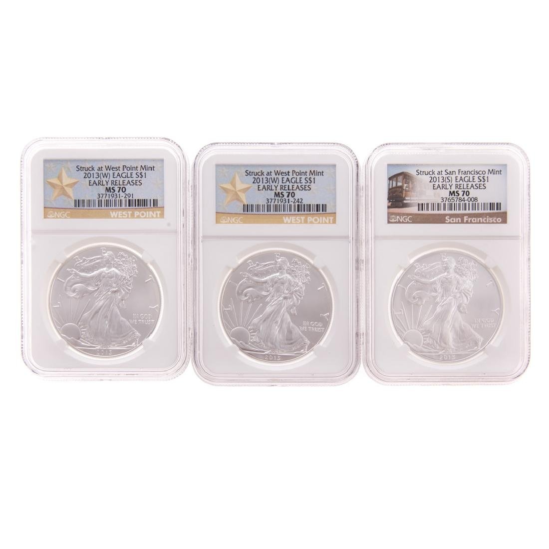[US] NGC Set of MS 70 2012 Silver Eagles (3)