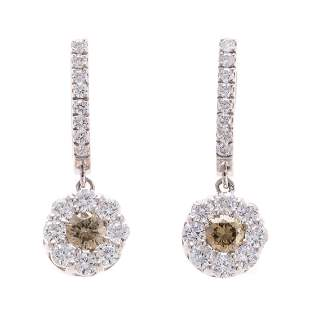 A Pair of Champagne White Diamond Earrings