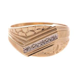 A Gentlemans Nugget Diamond Ring in 10K