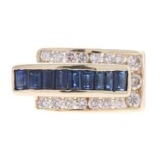 A 14K Contemporary Sapphire Diamond Band