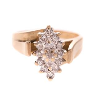 A Ladys Diamond Cluster Ring in 14K Gold