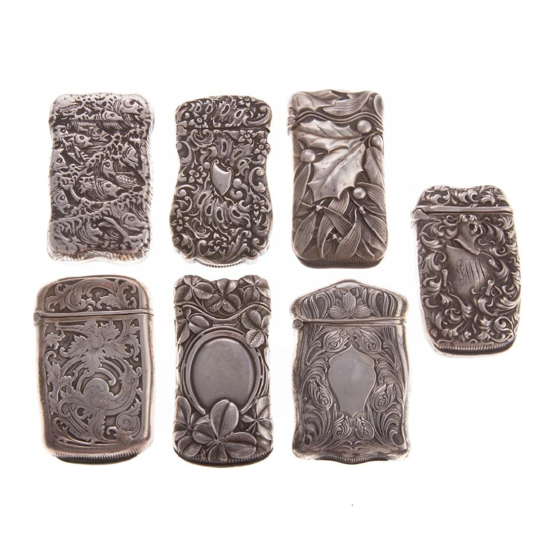 7 Art Nouveau sterling silver match safes