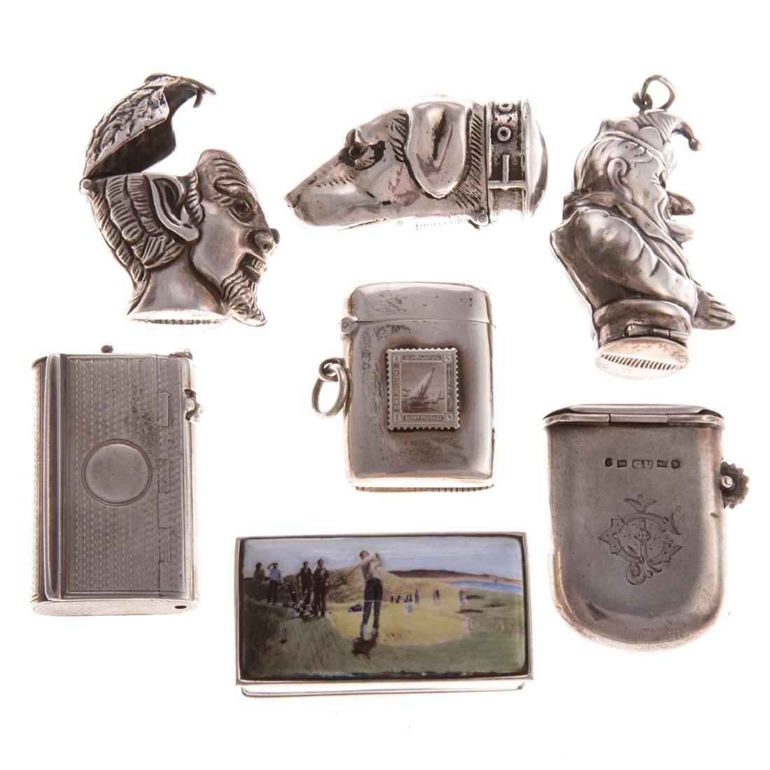 7 sterling silver match safes