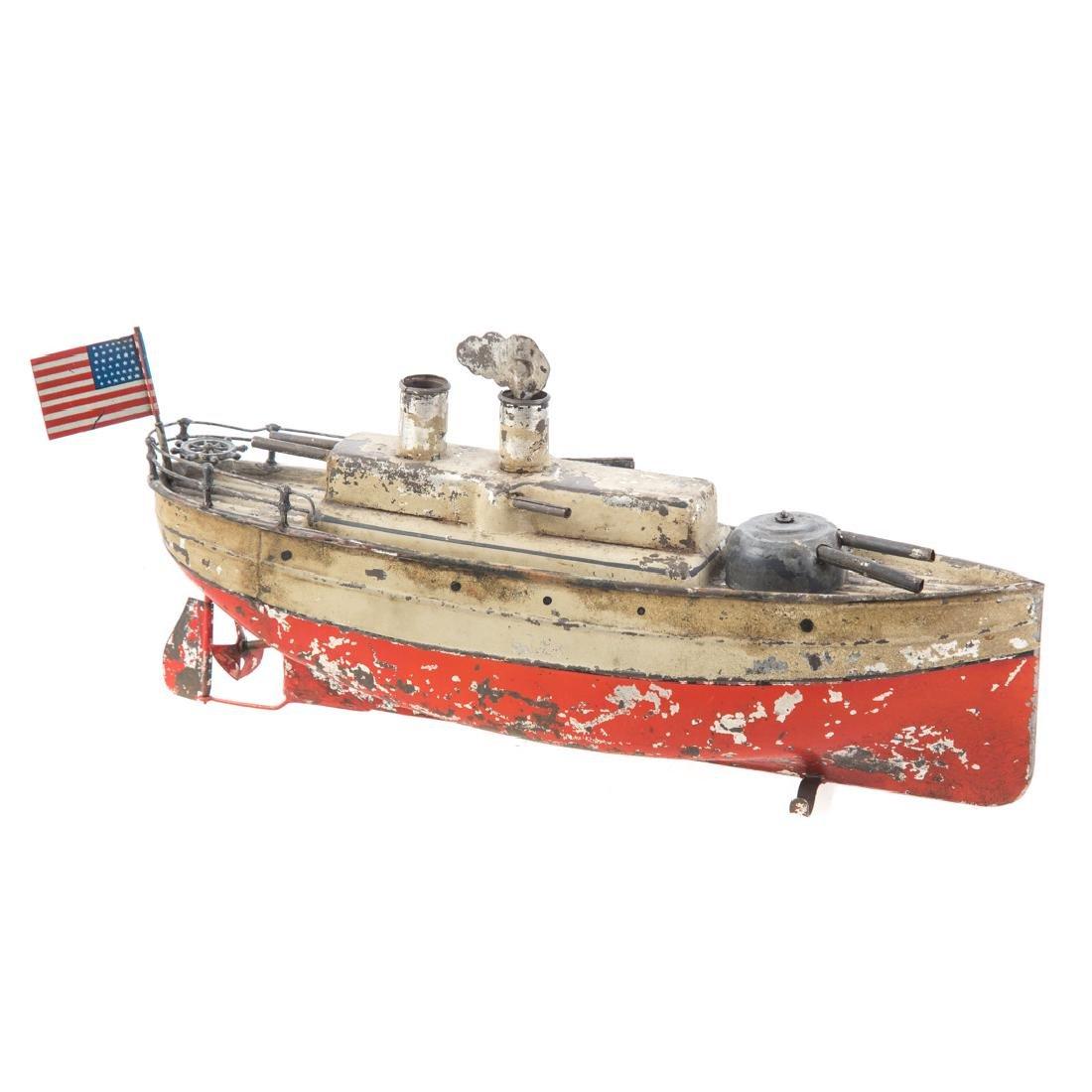 Georges Carette tinplate armored cruiser