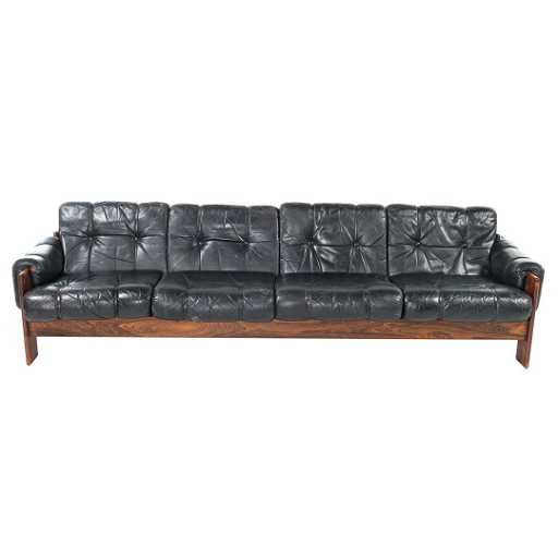 Kaekiila Mid Century Modern Leather Sofa See Sold Price