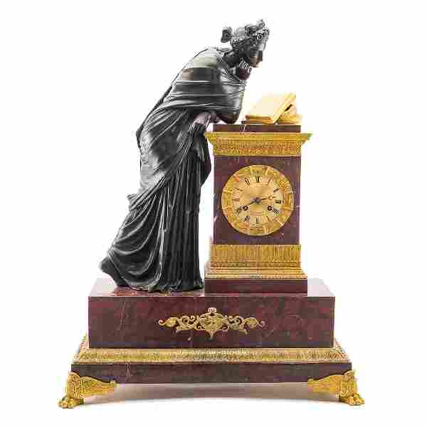 French Empire bronze & marble figural clock