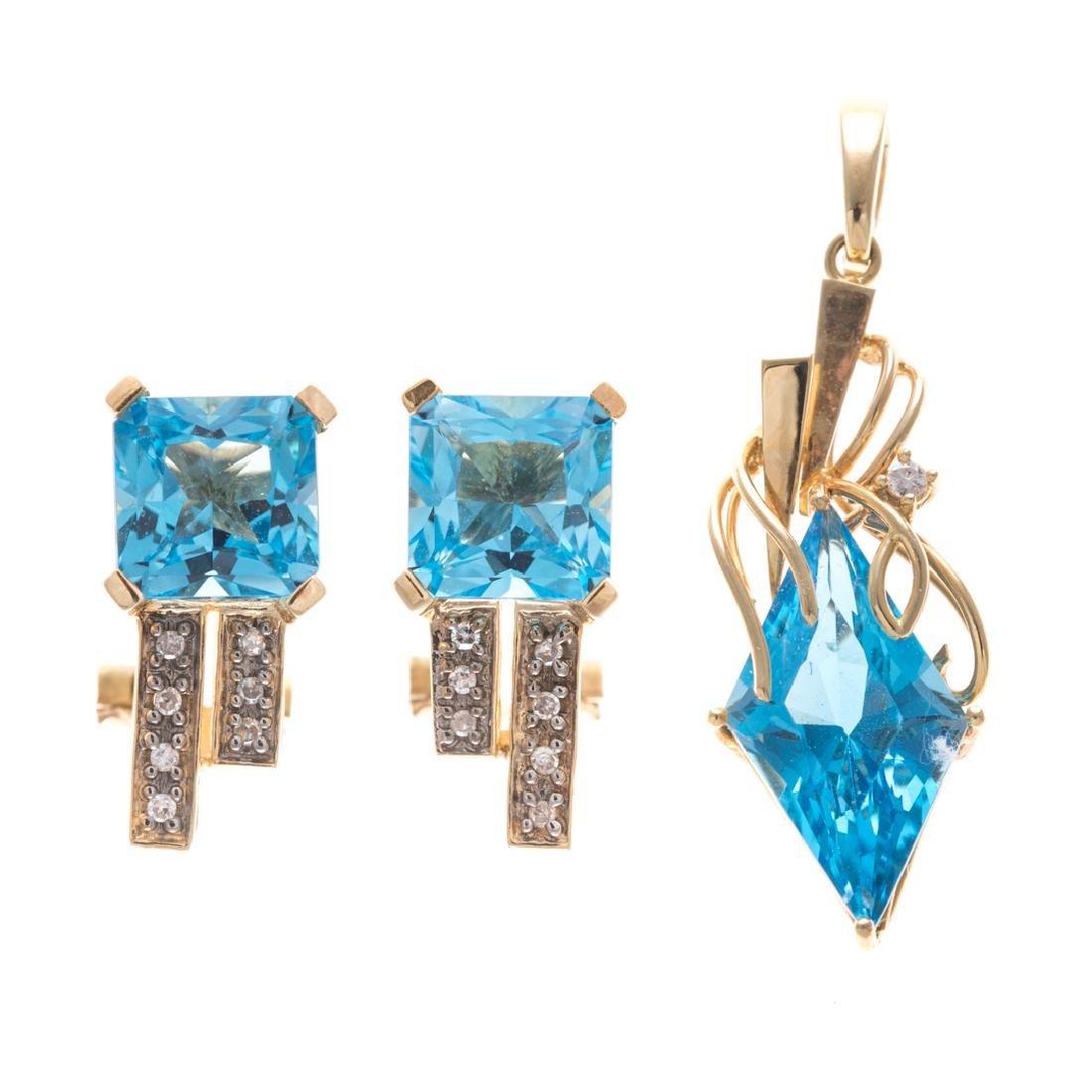 A Blue Topaz & Diamond Earring and Pendant Set