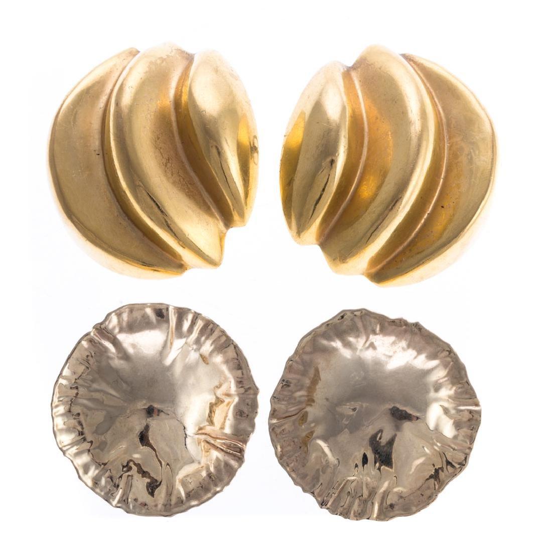 Two Pair of Lady's Earrings in 18K & 14K Gold