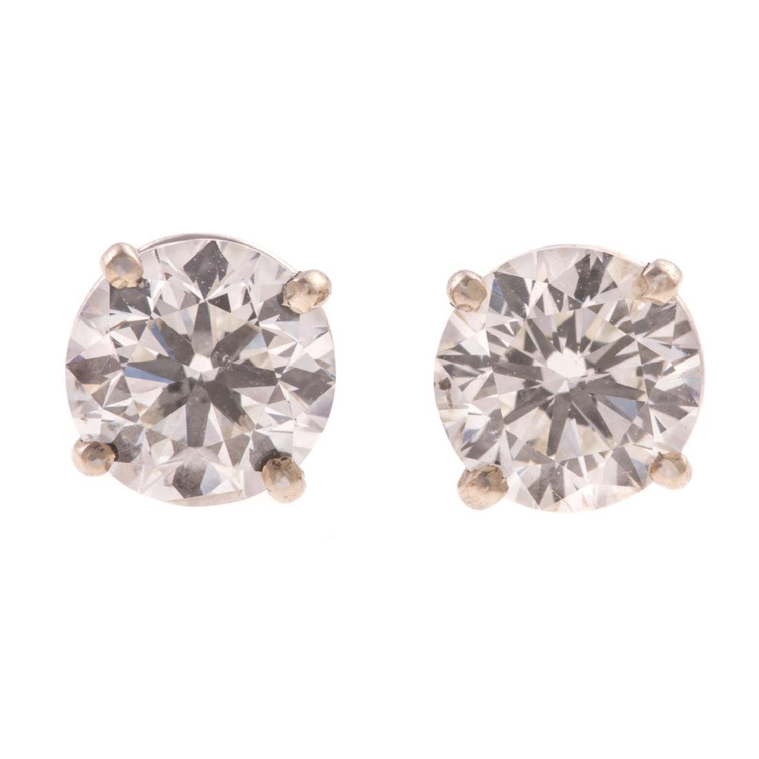 A Pair of 2.01 ct. Diamond Studs in 14K White Gold