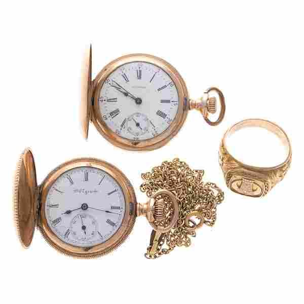 A Gent's 10K Gold Ring & Two Pocket Watches