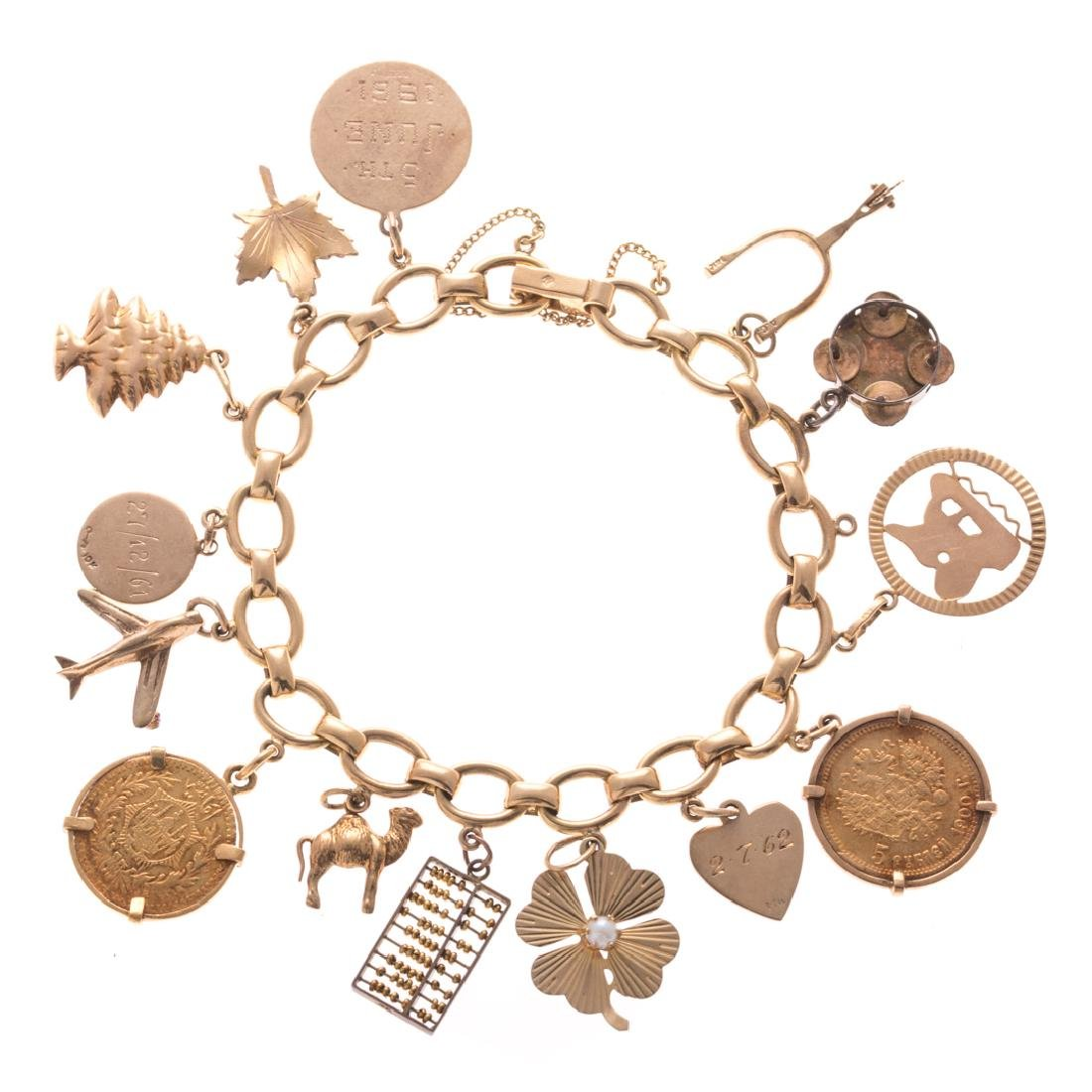 A Lady's Charm Bracelet in 14K Gold
