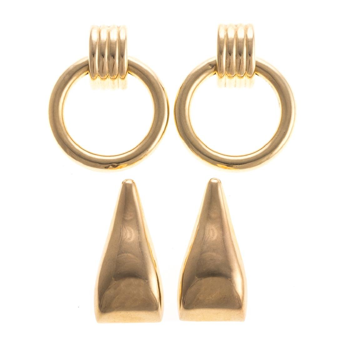 Two Pair of Lady's Gold Earrings in 14K