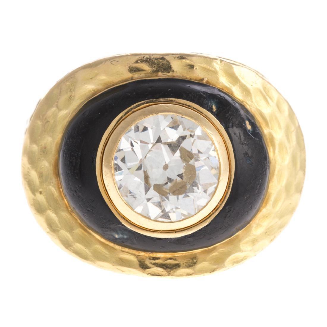 A 18K Diamond Ring & Enamel by David Webb