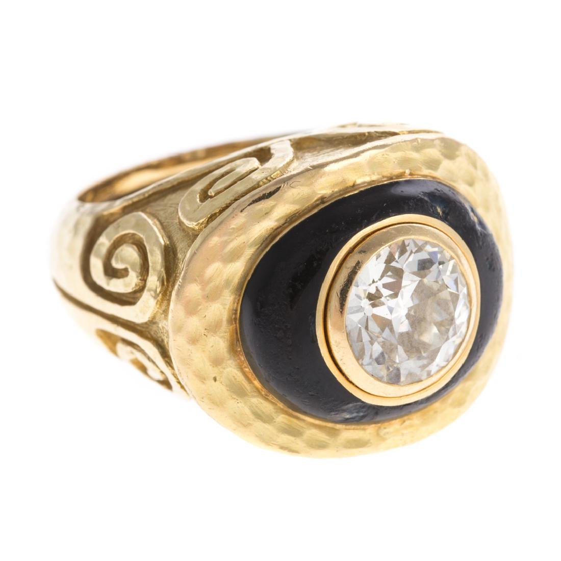A 18K Diamond Ring & Enamel by David Webb - 2