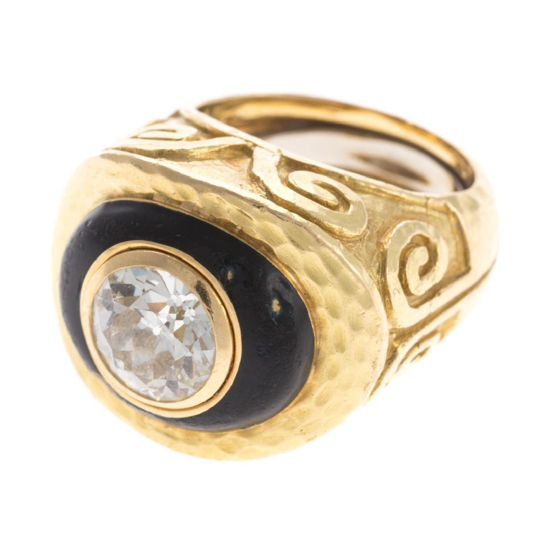 A 18K Diamond Ring & Enamel by David Webb - 6