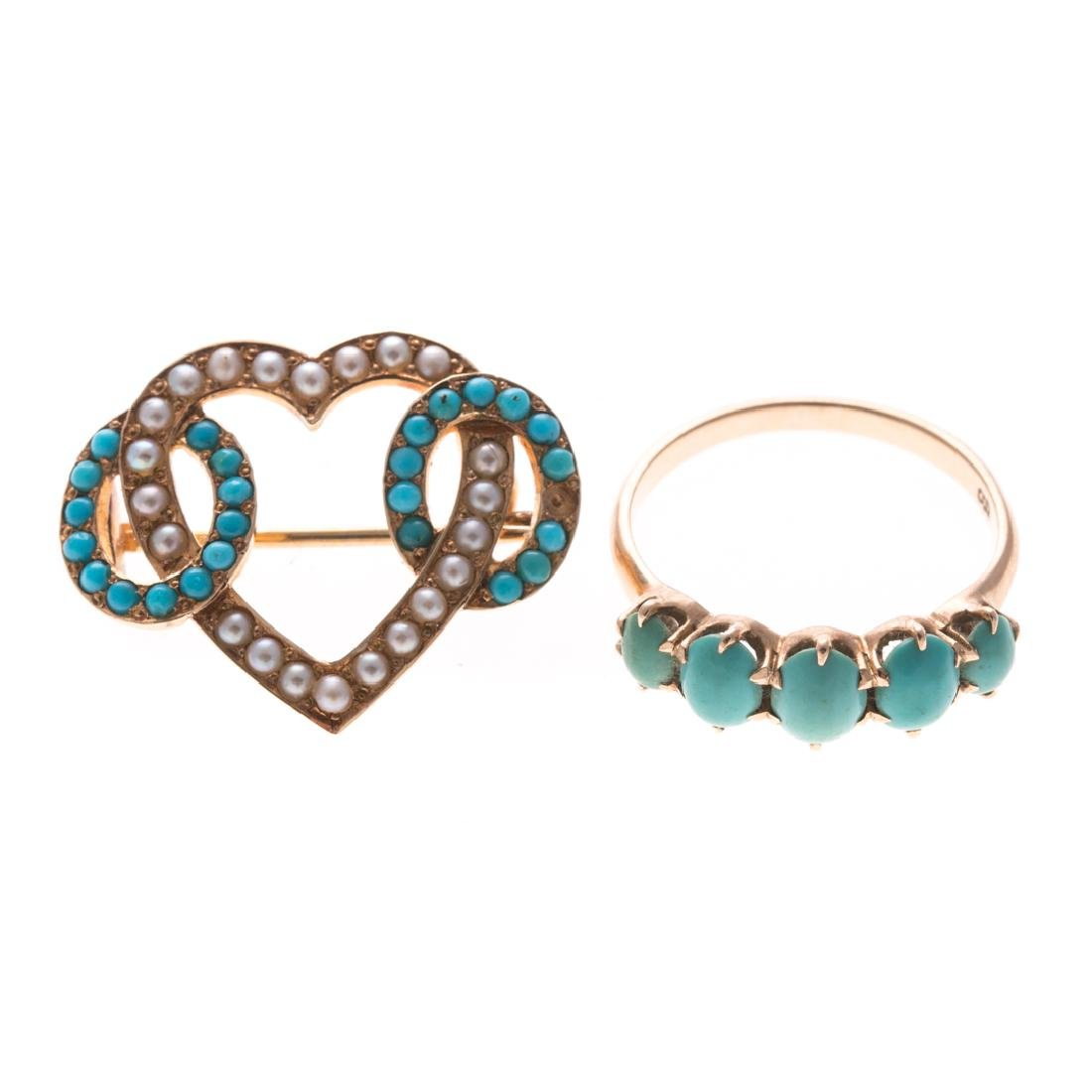 A Lady's Turquoise & Seed Pearl Pin & Ring in Gold
