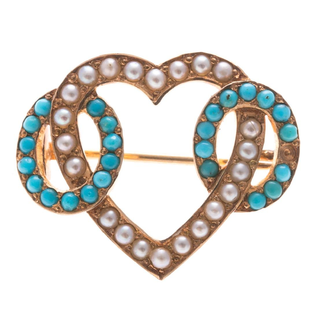 A Lady's Turquoise & Seed Pearl Pin & Ring in Gold - 2