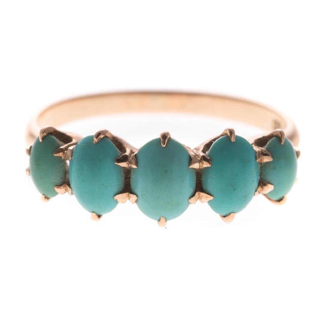 A Lady's Turquoise & Seed Pearl Pin & Ring in Gold - 3