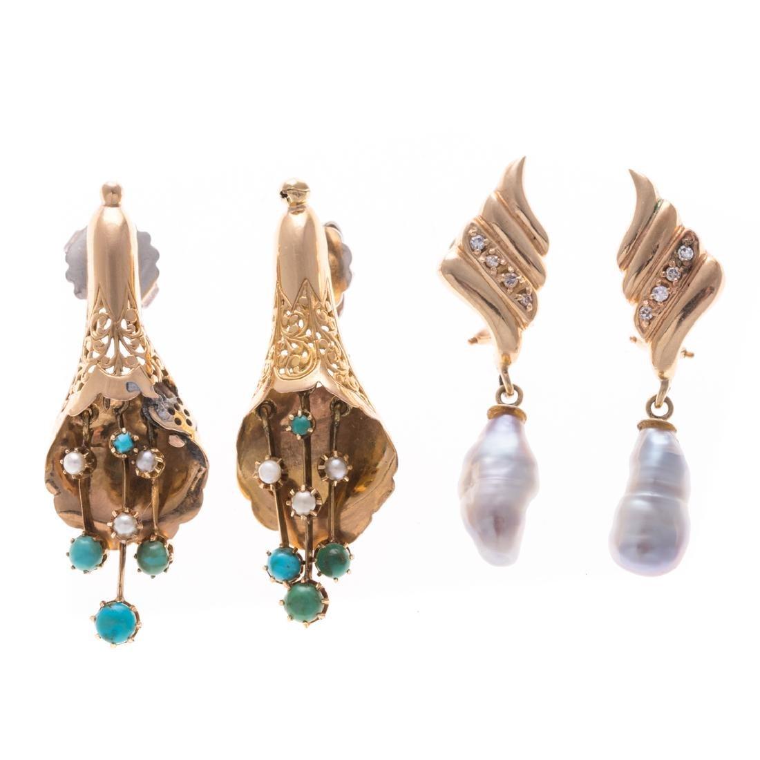 Two Pairs of Vintage Gemstone Earrings in Gold