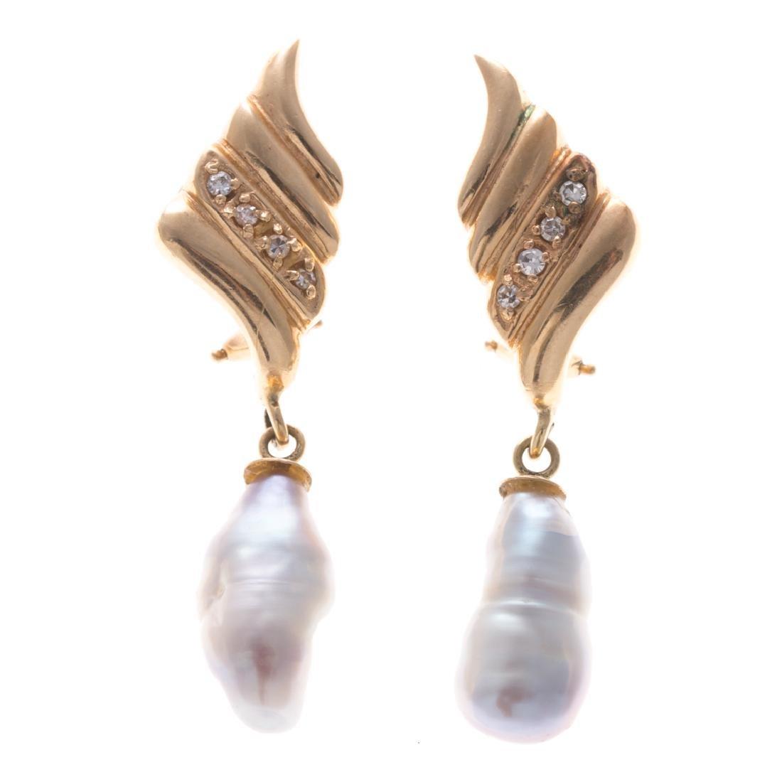 Two Pairs of Vintage Gemstone Earrings in Gold - 2