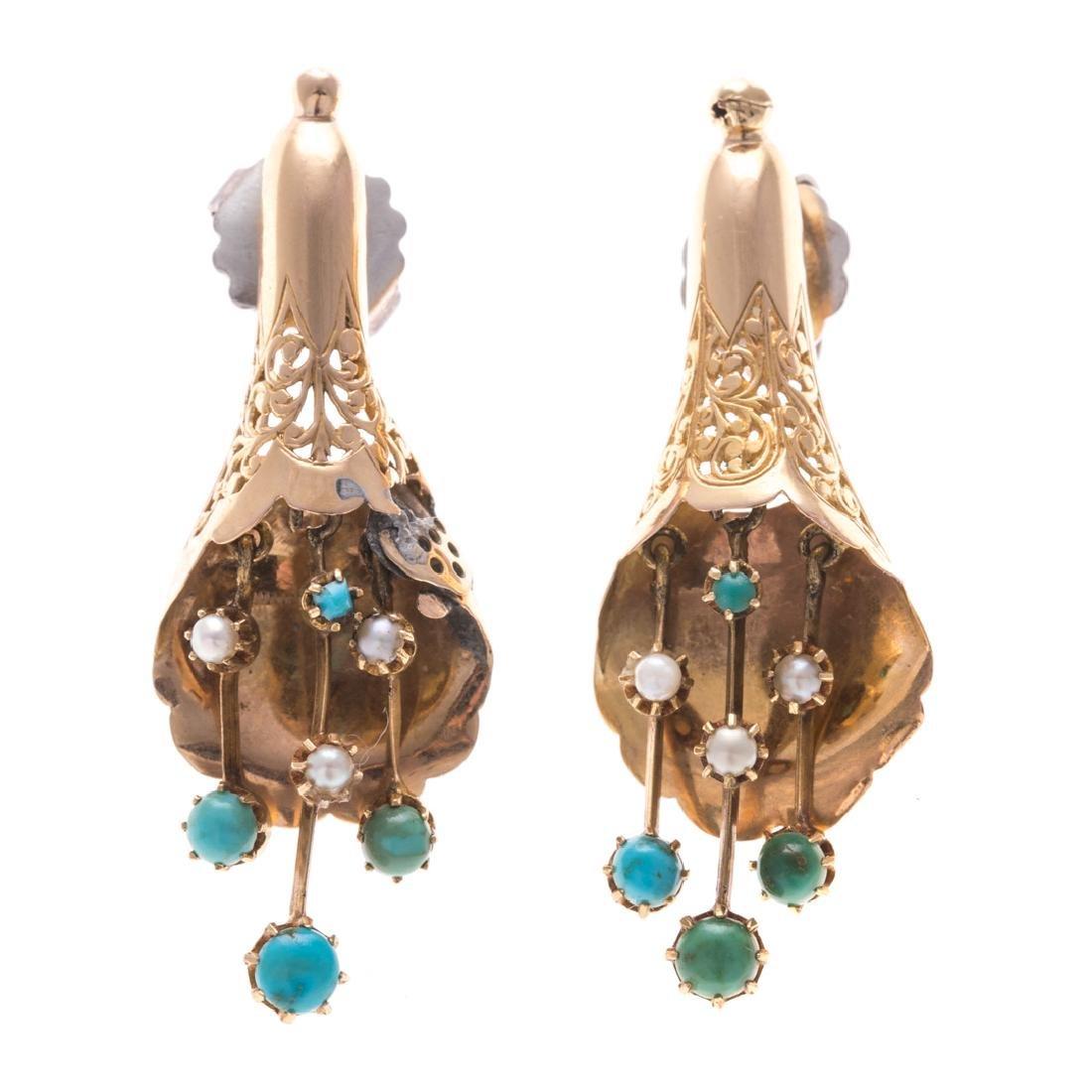 Two Pairs of Vintage Gemstone Earrings in Gold - 3