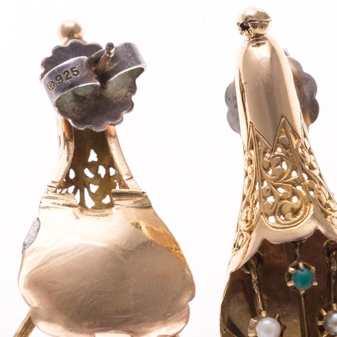 Two Pairs of Vintage Gemstone Earrings in Gold - 4