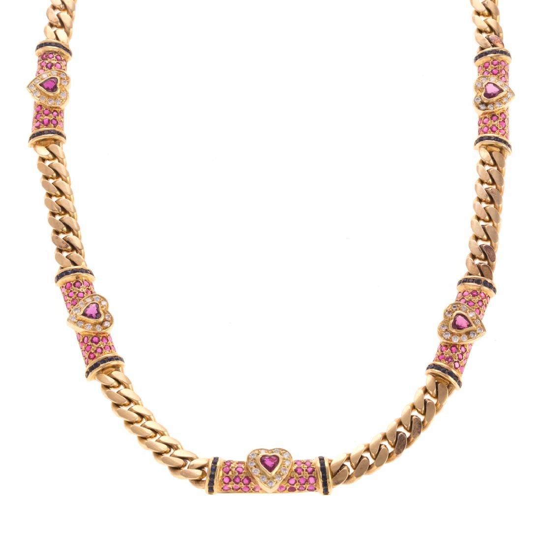 A Heavy Ruby & Diamond Necklace in 18K