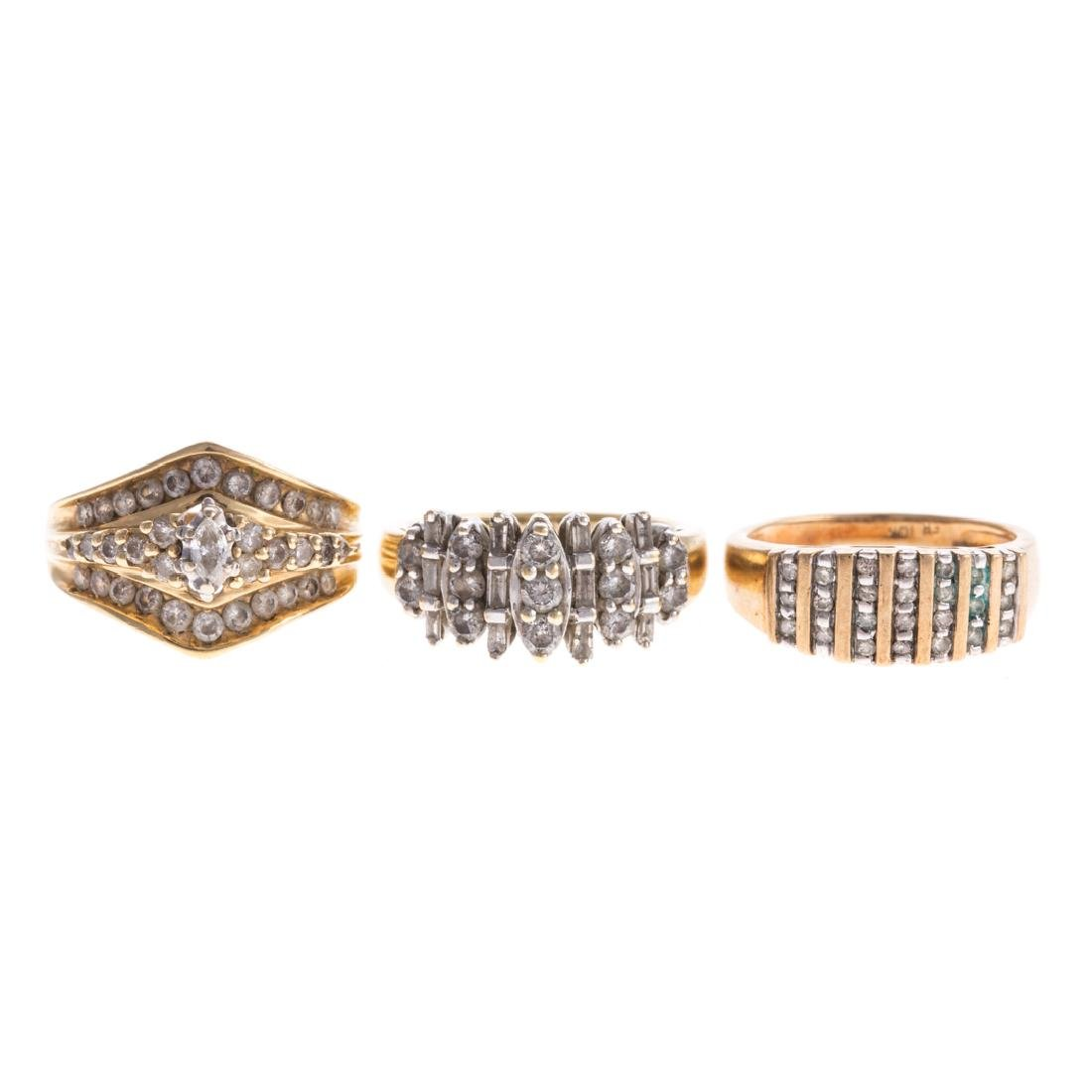 A Trio of Lady's Diamond Bands in Gold