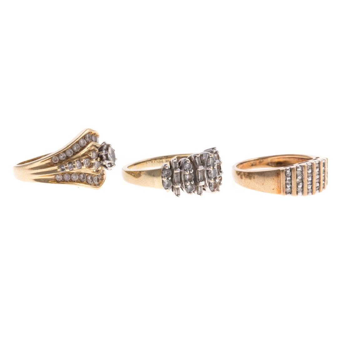 A Trio of Lady's Diamond Bands in Gold - 2