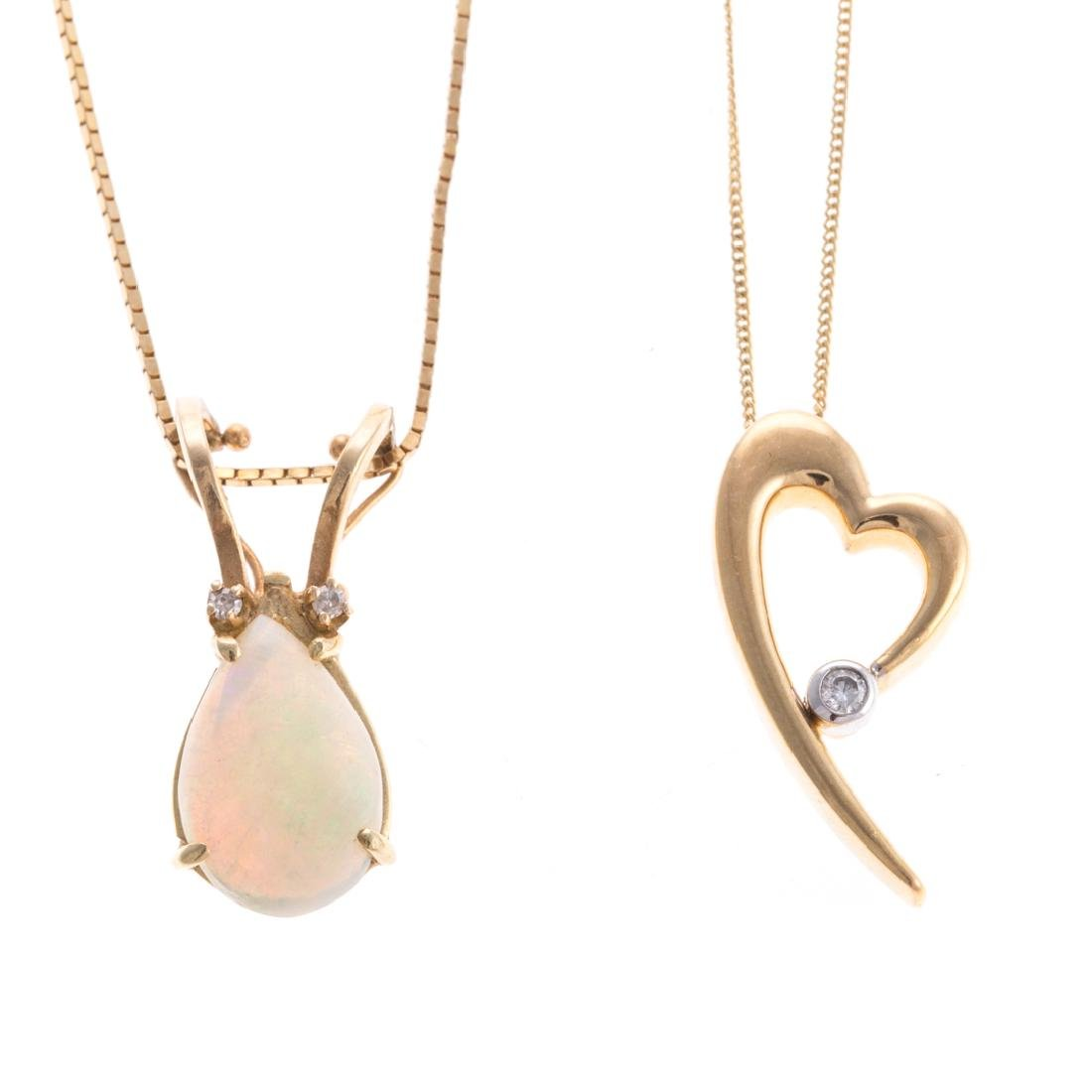 Two Lady's Necklaces with Pendants in 14K