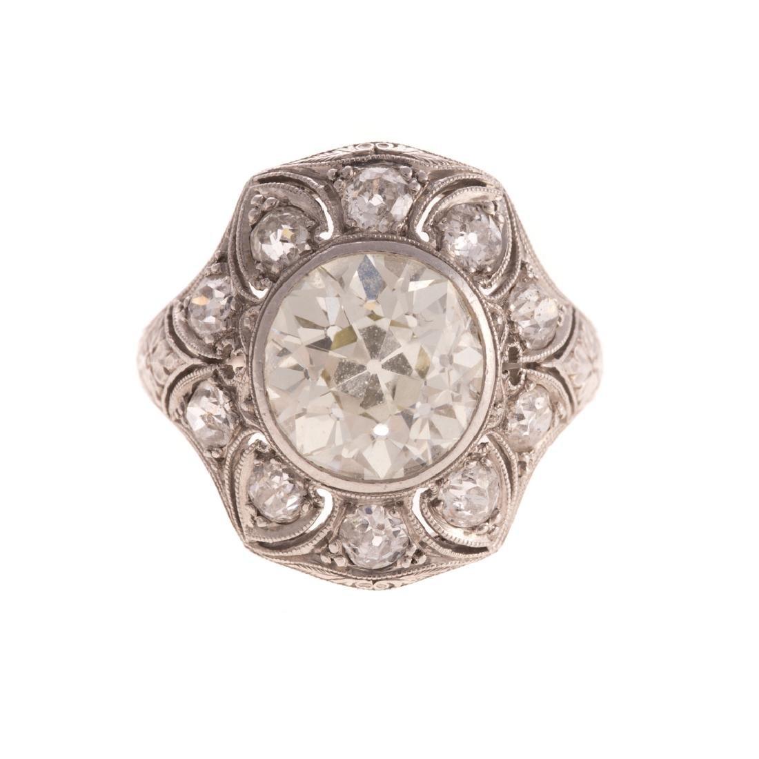 A Lady's 4.51 Diamond Art Deco Ring in Platinum