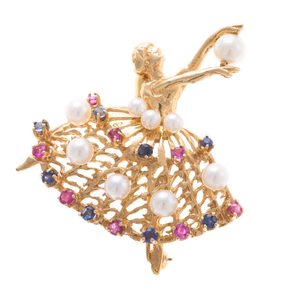 A Lady's 14K Pearl & Gemstone Ballerina Pin