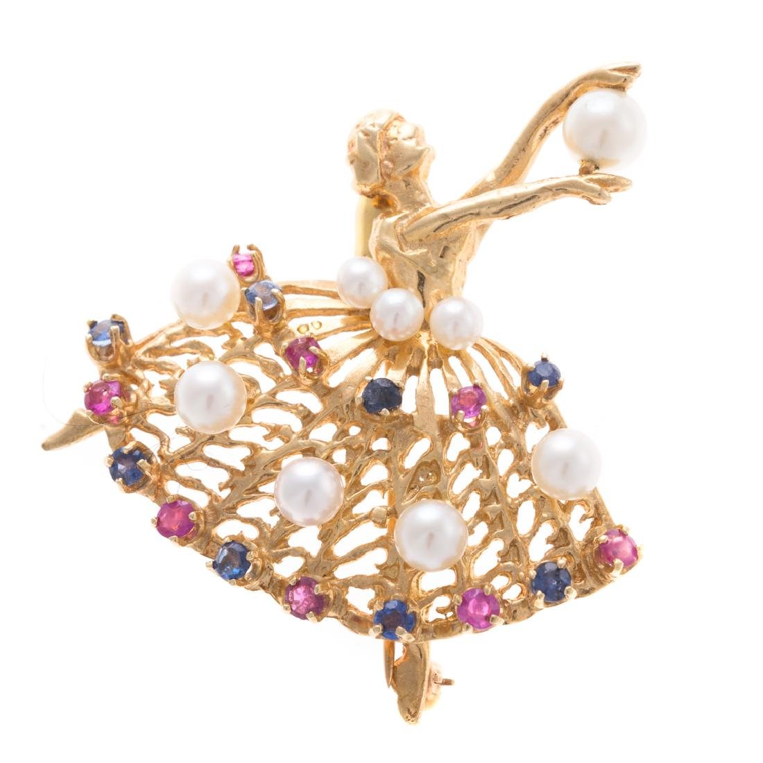 A Lady's 14K Pearl & Gemstone Ballerina Pin