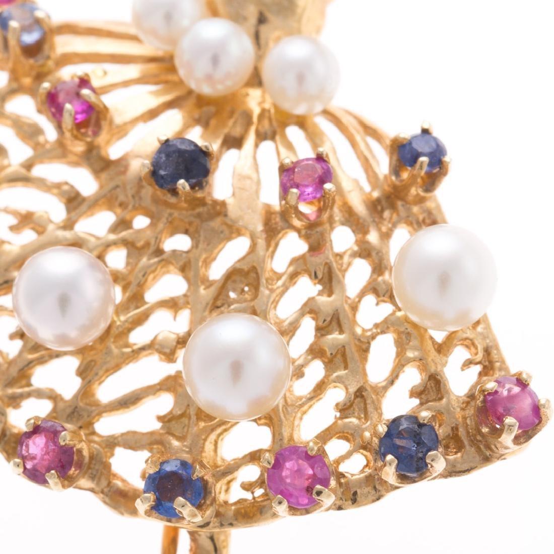 A Lady's 14K Pearl & Gemstone Ballerina Pin - 2