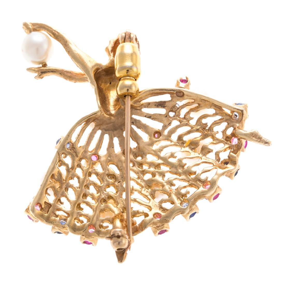 A Lady's 14K Pearl & Gemstone Ballerina Pin - 3