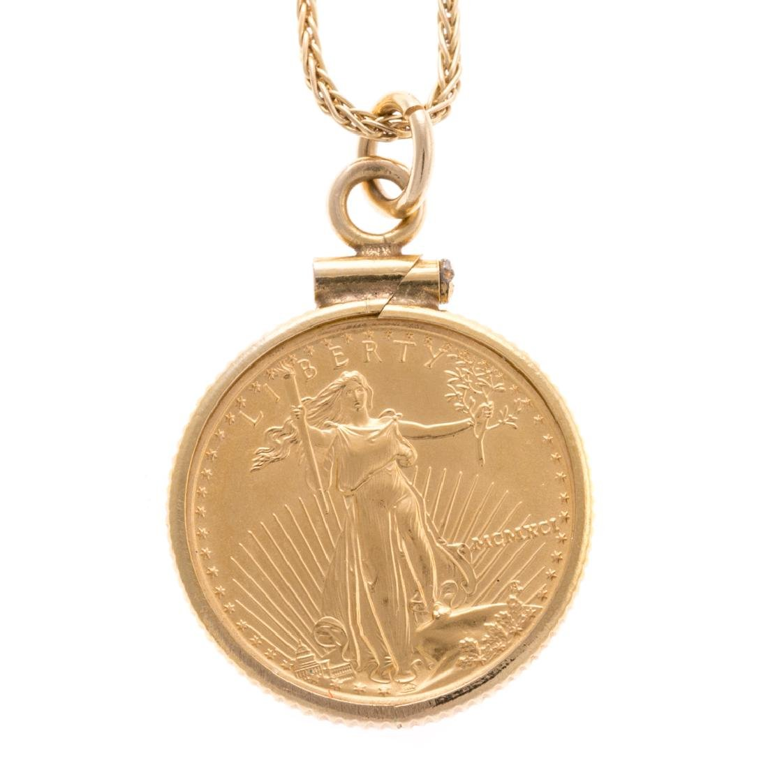 A Lady's 5 Dollar Gold Coin Pendant & Chain