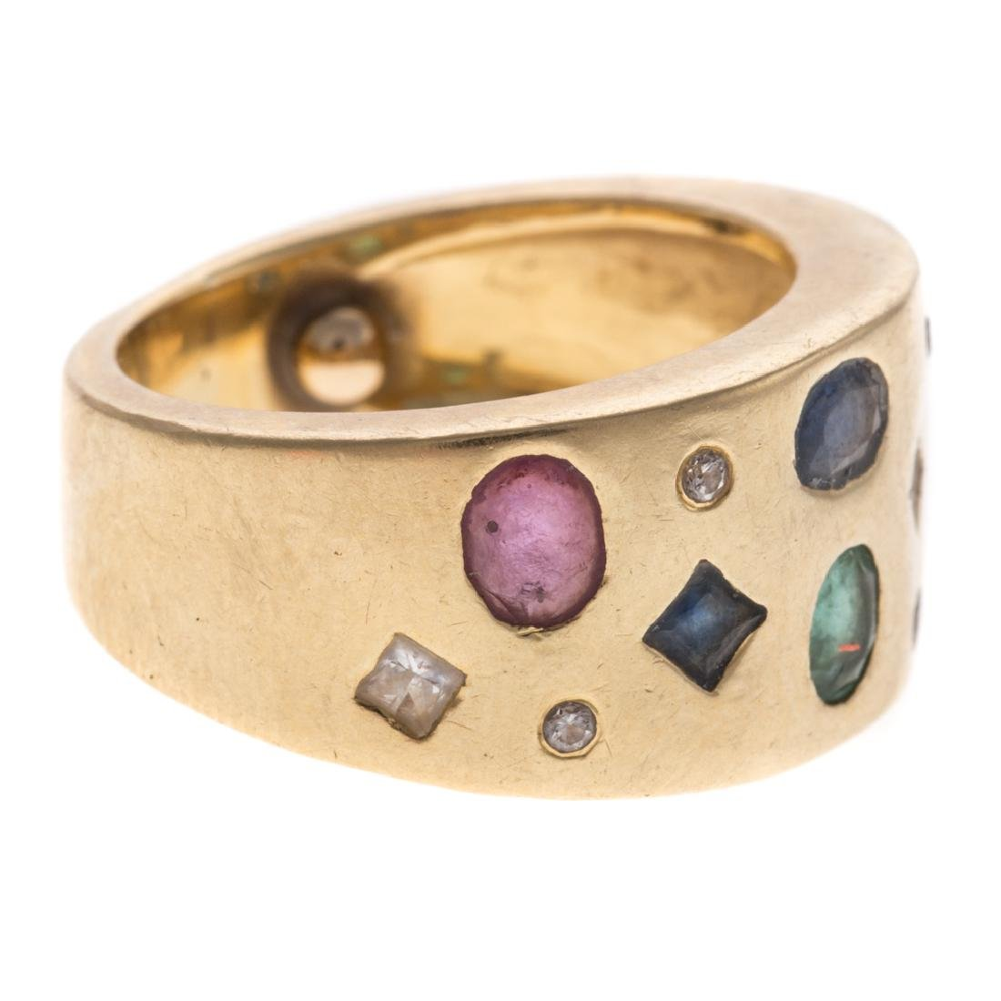 A Lady's 18K Multi Stone Wide Band - 2