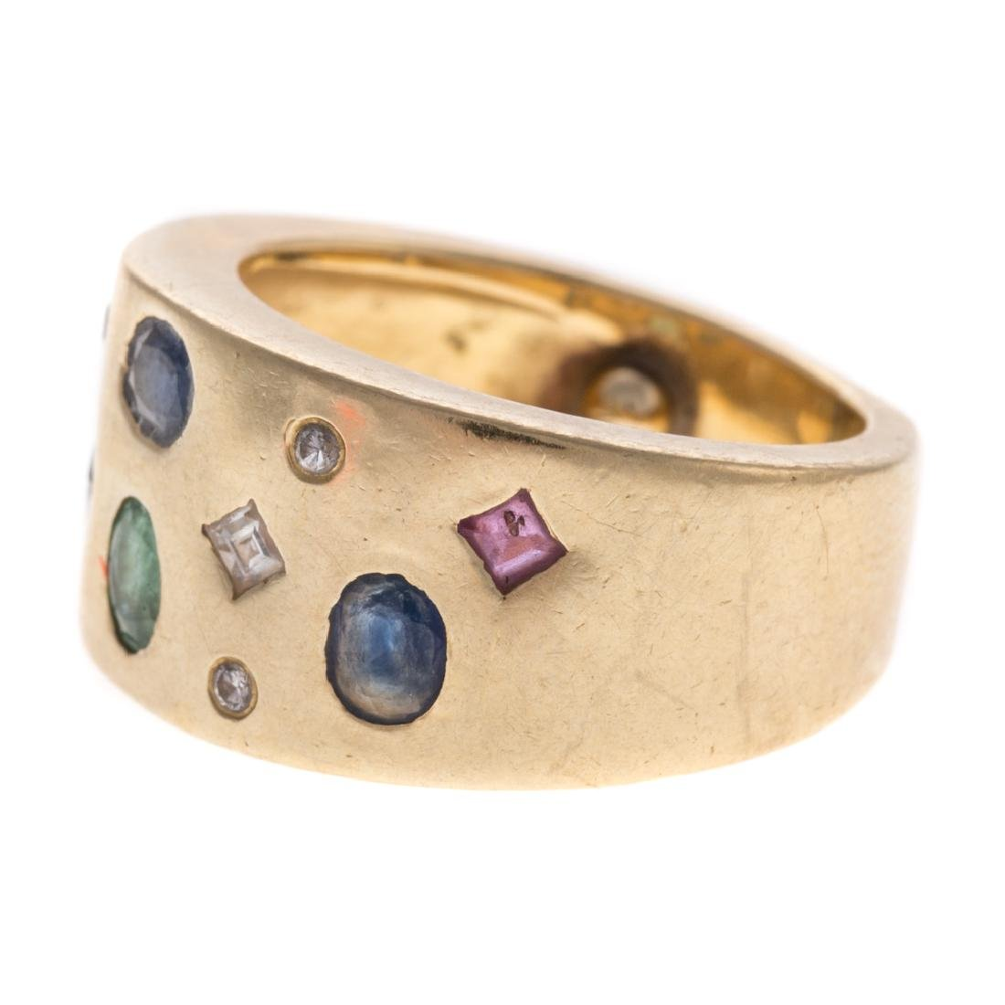 A Lady's 18K Multi Stone Wide Band - 3