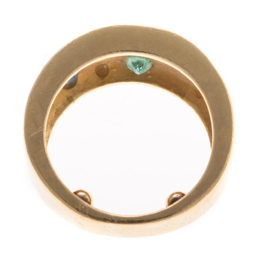 A Lady's 18K Multi Stone Wide Band - 4