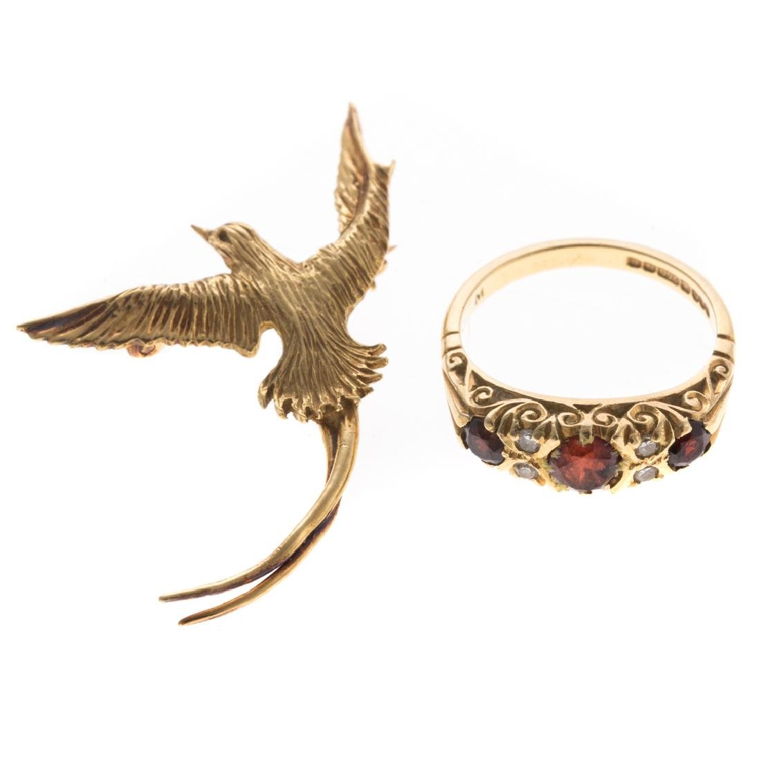 A Lady's Ruby Ring & Bird Pin in 18K