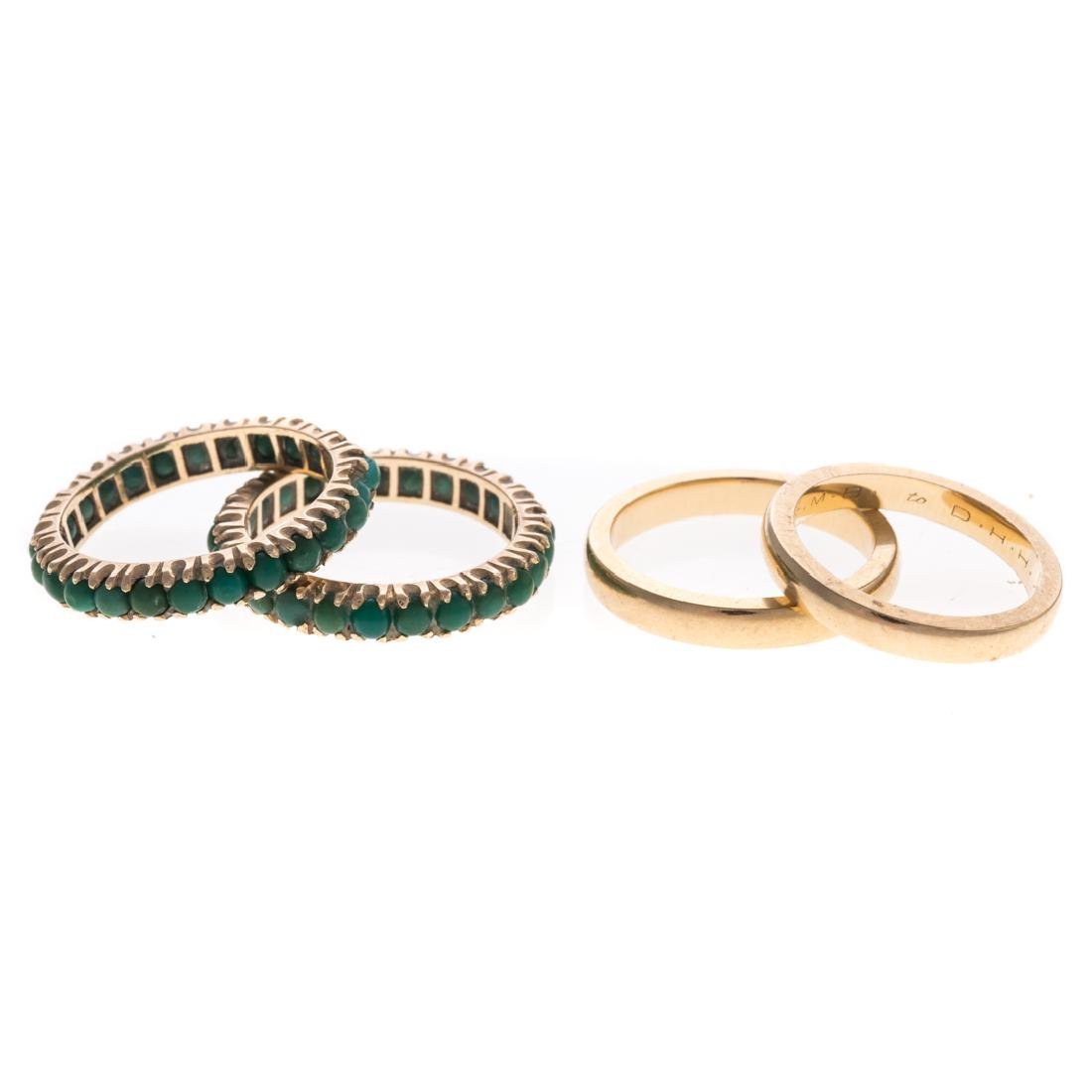 A Pair of 14K Turquoise Guards Rings & Gold Bands