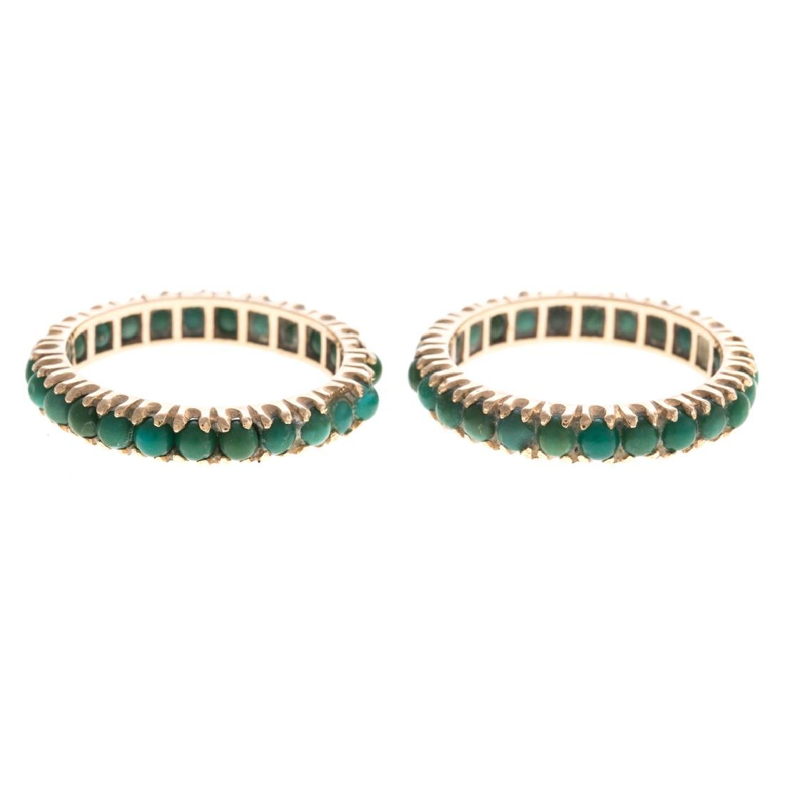 A Pair of 14K Turquoise Guards Rings & Gold Bands - 4