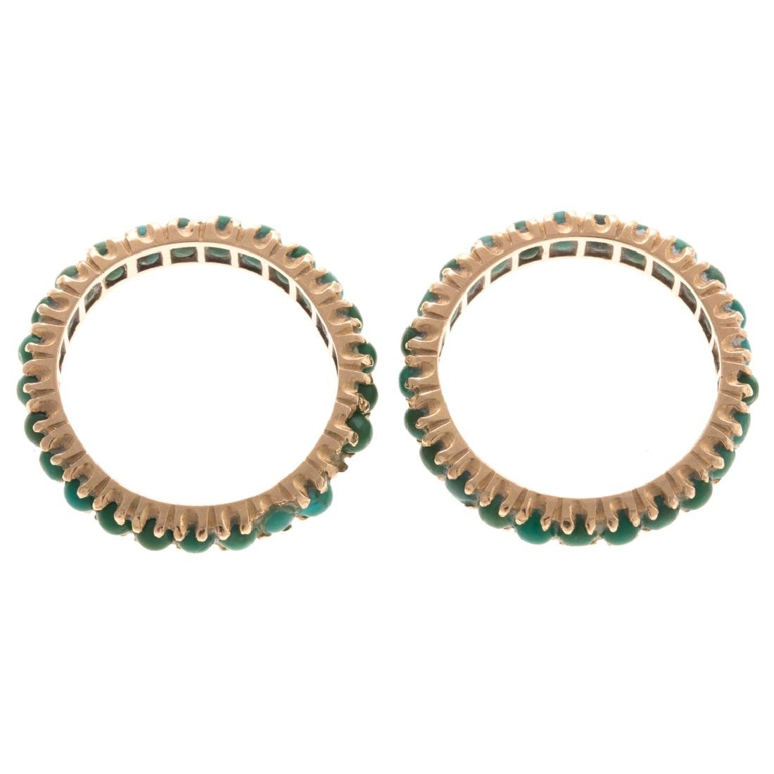 A Pair of 14K Turquoise Guards Rings & Gold Bands - 5
