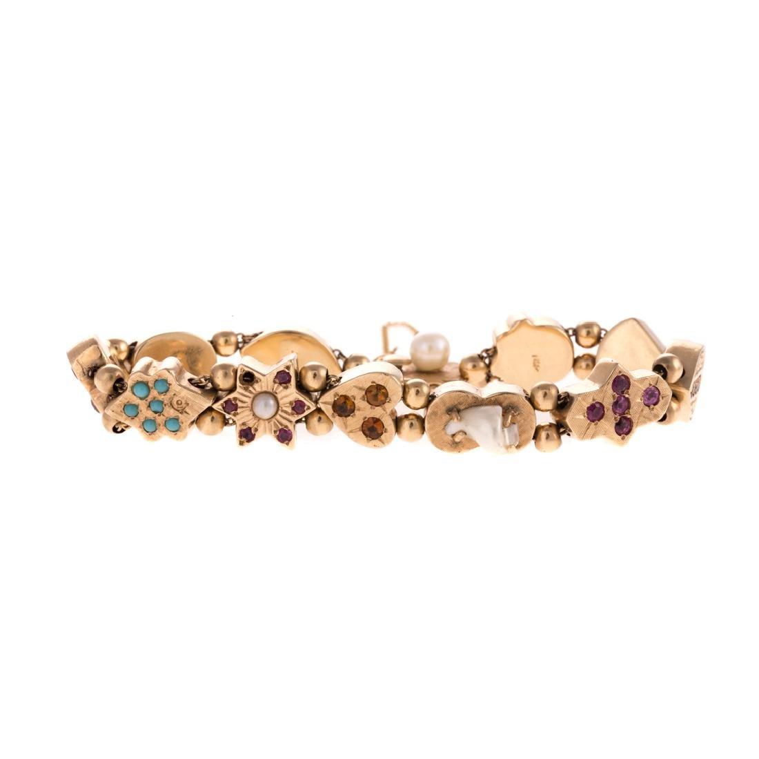 A Lady's Gemstone Victorian Slide Bracelet in 14K