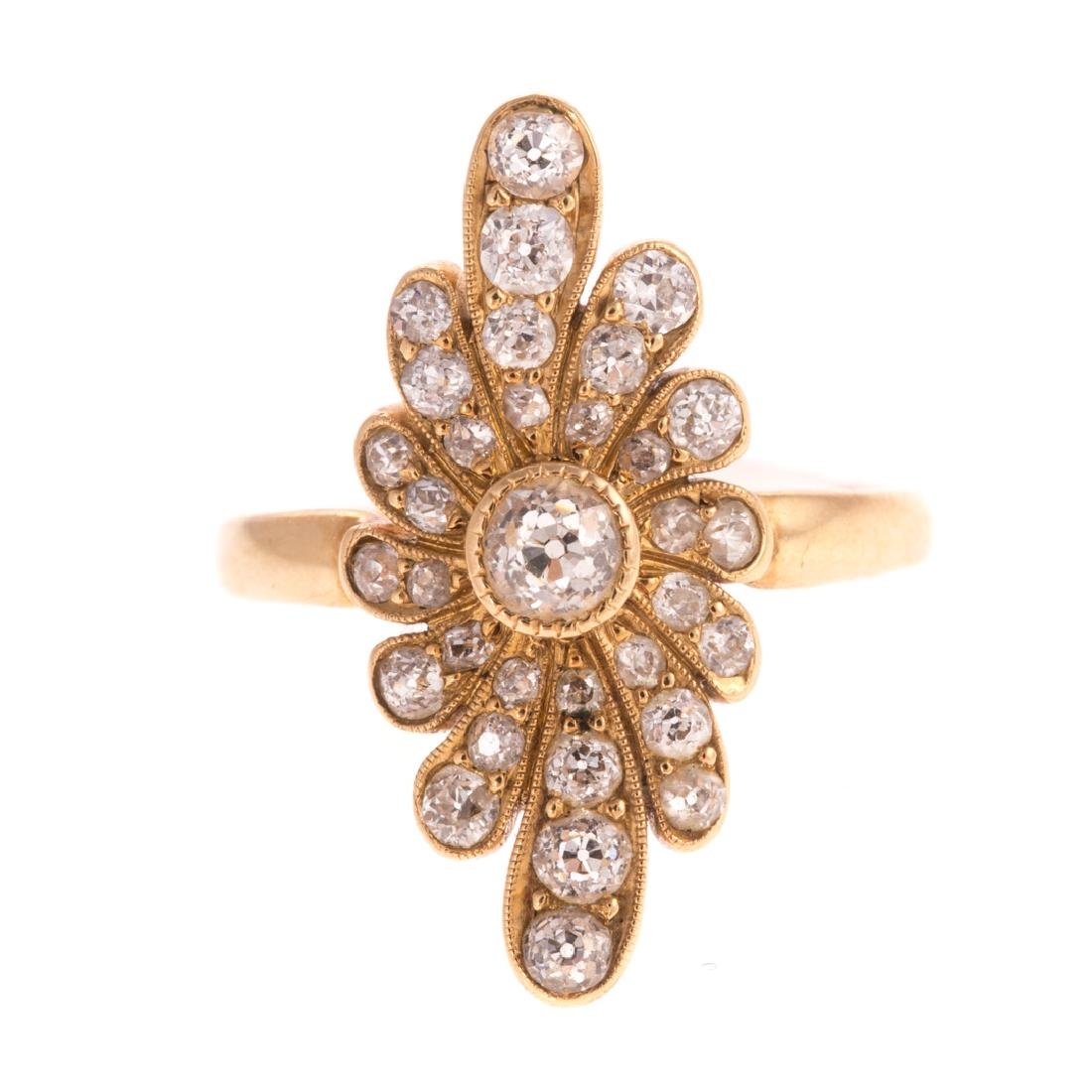 A Lady's Diamond Navette Ring in 18K Gold