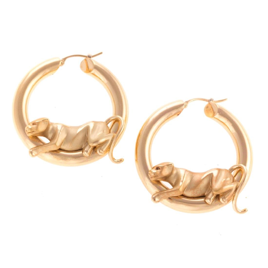 A Pair of 18K Jaguar Hoop Earrings