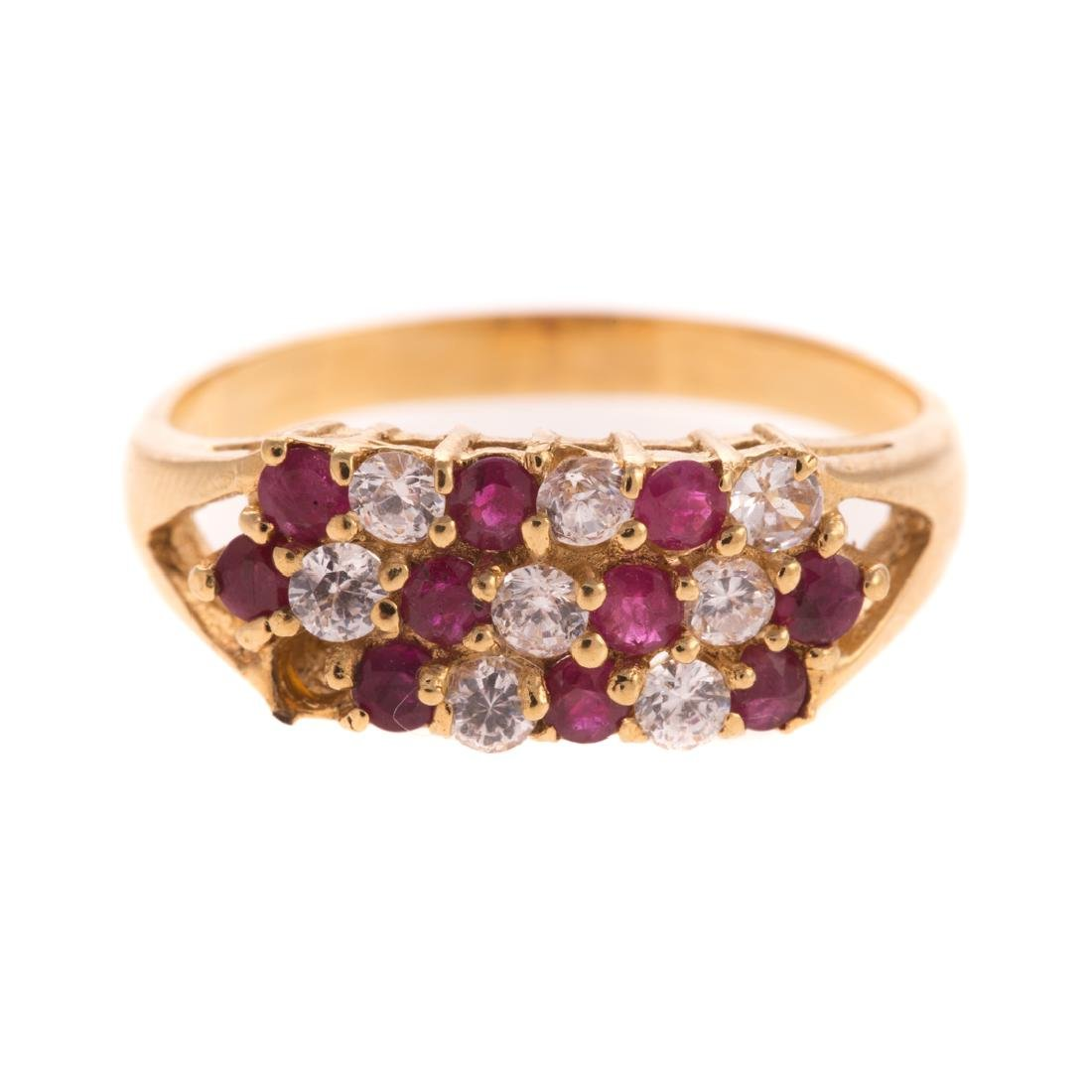 A Lady's Ruby and Diamond Ring in 14K Gold