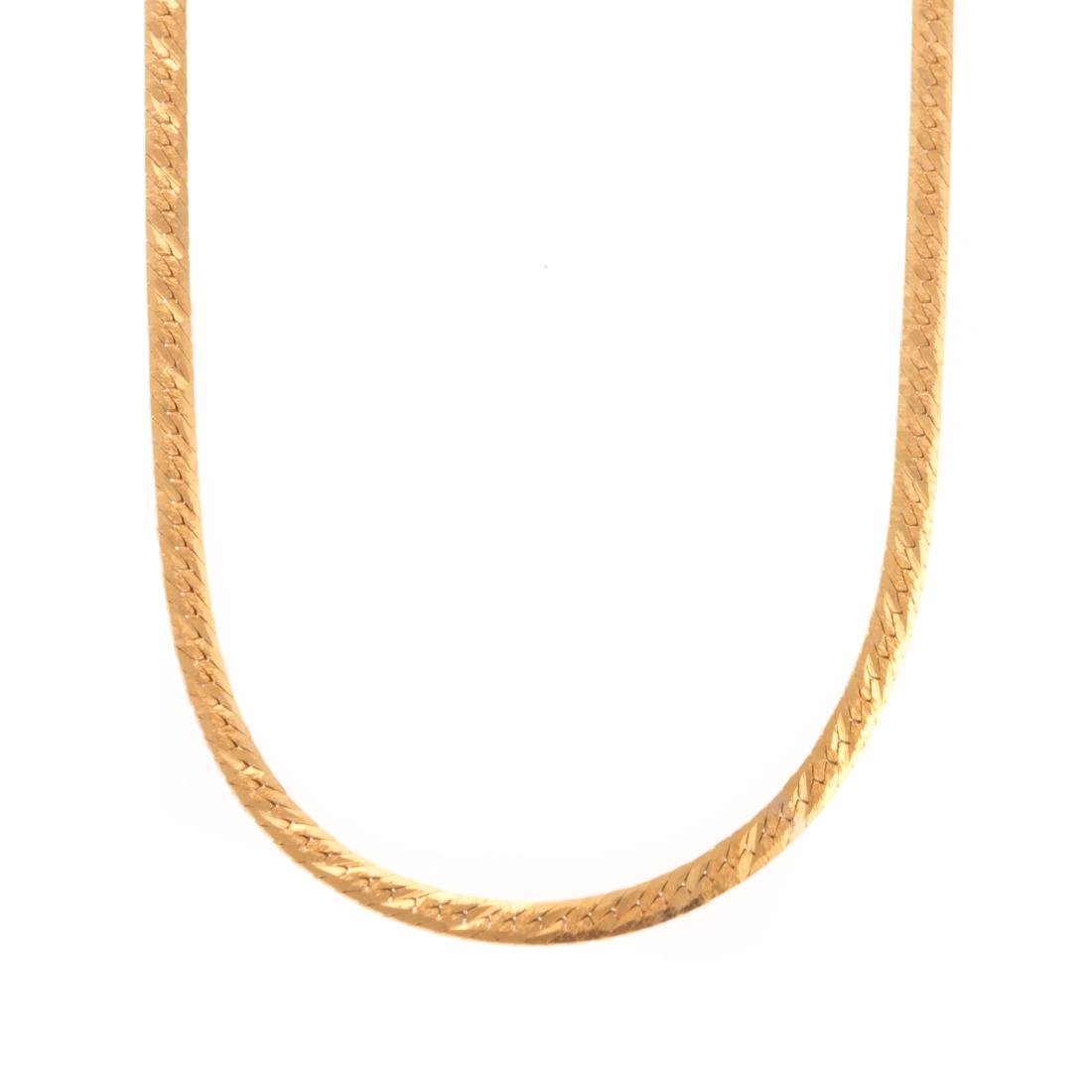 An Italian Herringbone Chain in 14K Gold